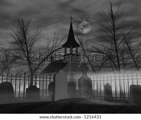 Computer-generated 3D graphic depicting a graveyard at night - stock ...