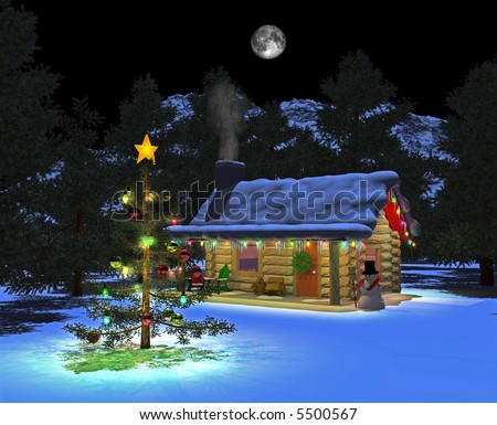 Computer-generated 3D illustration depicting a cabin in a forest at night