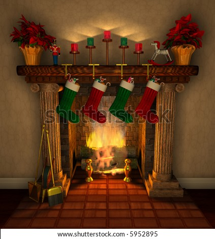 Computer-generated 3D illustration depicting a holiday-decorated fireplace mantel
