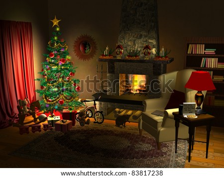Computer-generated 3D illustration depicting a holiday-decorated fireplace scene