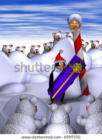 Computer-generated 3-D illustration depicting cartoon penguin with a ...