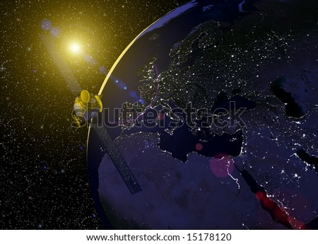 Computer-generated 3D illustration depicting the earth with a telecommunications satellite above Europe, North Africa and Asia
