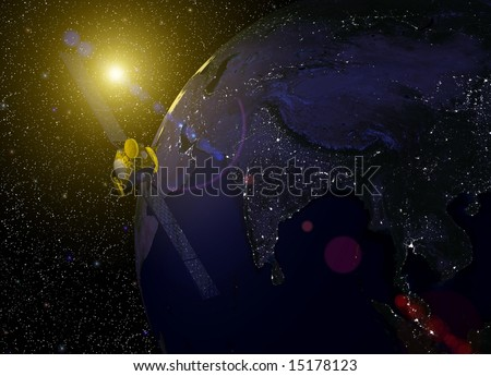 Computer-generated 3D illustration depicting the earth with a telecommunications satellite above India and Asia