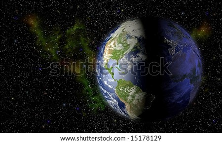 Computer-generated 3D illustration depicting the earth with background of stars