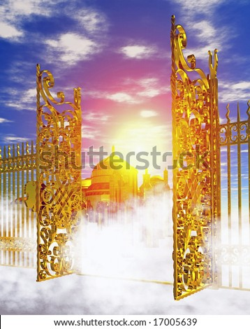 Computer-generated 3D illustration depicting the gates of heaven