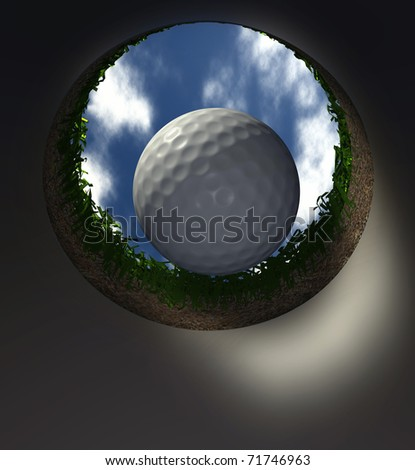 Computer-generated 3D illustration depicting the view of a golf ball falling into the cup