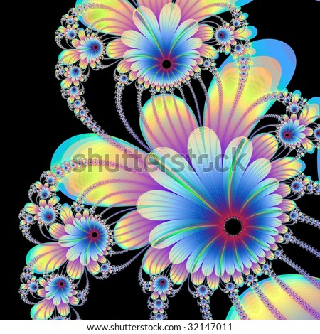 Computer generated  design with flowers on a black background.