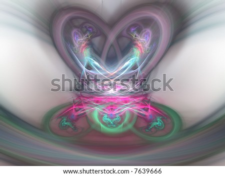 Computer Generated Fractal Illustration Of Pastel Colored Pretzel ...