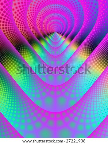 Computer generated fractal image in a psychedelic abstract design.