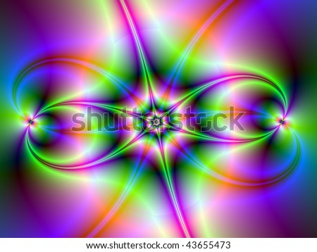 Computer generated fractal image with a abstract star design in neon colors.