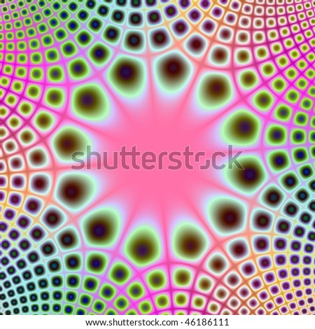 Computer generated fractal image with a central sunburst design and radiating pattern in pink and green.