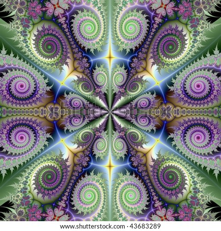 Computer generated fractal image with a formal pattern in green and purple.