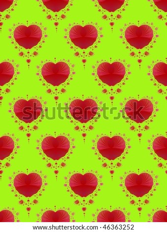 Computer generated fractal image with a seamless red heart design on a yellow background.