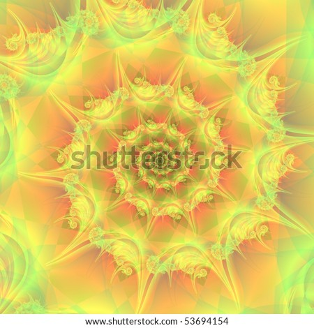 Computer generated fractal image with a spiral design in citric colors of yellow, orange and green.