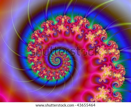 Computer generated fractal image with a spiral design in red and blue.
