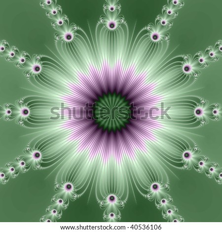 Computer generated fractal image with a wreath of flowers design in green and white.
