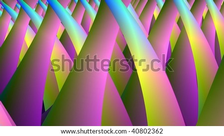 Computer generated fractal image with an abstract design in yellow pink and blue. - stock photo