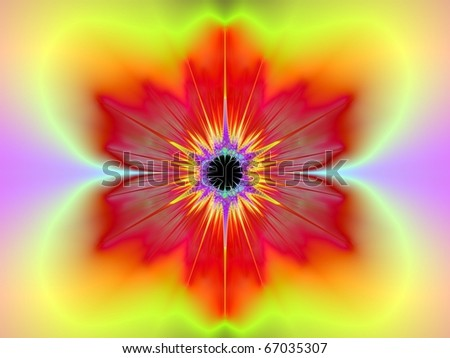 Computer generated fractal image with an abstract floral design in red, yellow, and pink.