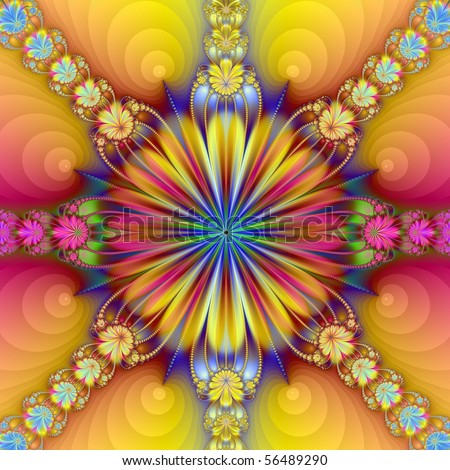 Computer generated fractal image with an abstract floral design in yellow, blue and red.