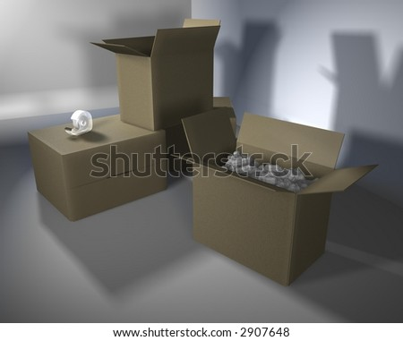 Computer-generated graphic depicting packing material (concept: move or relocate)