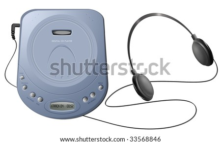 Computer-generated illustration: blue portable CD player with headphones. Isolated object on white background