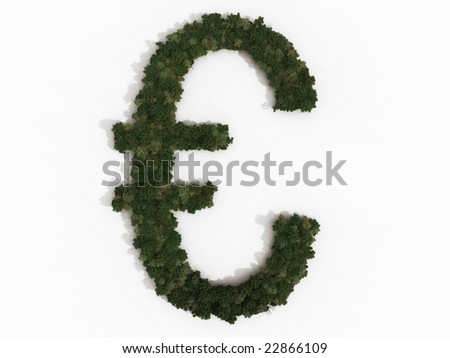 Computer generated illustration of a euro sign. The symbol is made up of various types of trees, and casts a shadow onto a white background. Part of a series of tree/forest images.