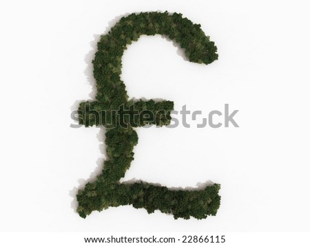 Computer generated illustration of a pound (sterling) sign. The symbol is made up of various types of trees, and casts a shadow onto a white background. Part of a series of tree/forest images.