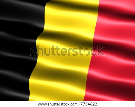 Computer generated illustration of the flag of Belgium with silky appearance and waves - stock photo