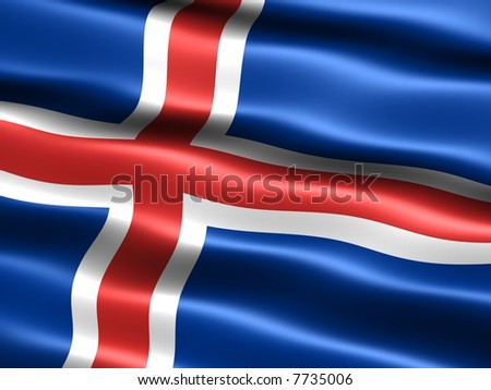 Computer generated illustration of the flag of Iceland with silky appearance and waves