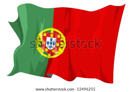 Computer generated illustration of the flag of Portugal