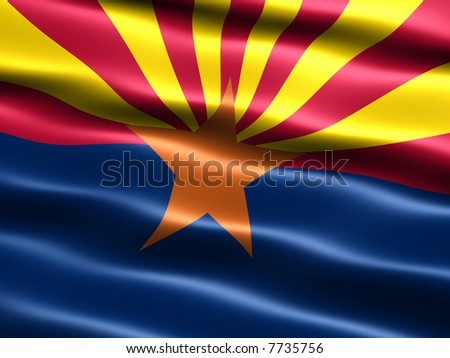 Computer generated illustration of the flag of the state of Arizona with silky appearance and waves