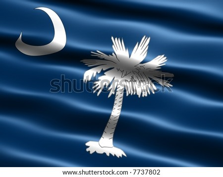 Computer generated illustration of the flag of the state of South Carolina with silky appearance and waves