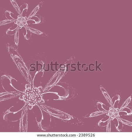 computer backgrounds flowers. stock photo : Computer generated illustration of white flowers on lilac ackground