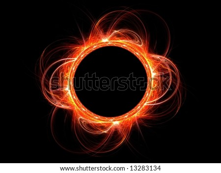 Computer generated illustration rendered fractal-showing solar explosions at the sun eclipse.