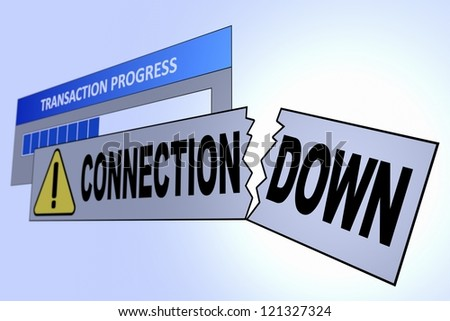 Computer generated image of a connection down alert. Concept for internet connection problems.