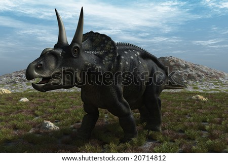 Computer Generated Image Of A Diceratops Dinosaur