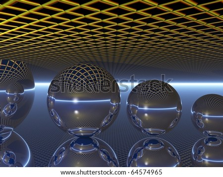 Computer Generated Image of a Reflecting Spheres against a Neutral Background