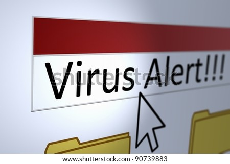 Computer generated image of a virus alert with cursor pointing at it.
