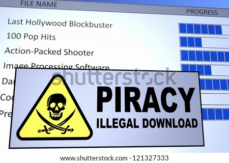 Computer generated image of an illegal piracy download. Concept for internet piracy.
