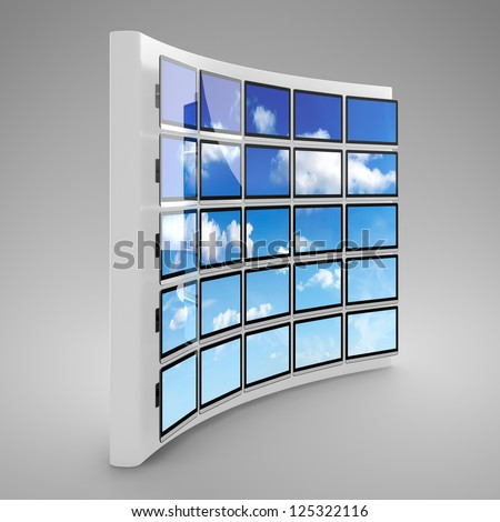 Computer generated image of blank presentation screen wall on gray background