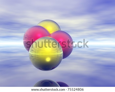 Computer Generated Image of Colourful Spheres Against Neutral Background