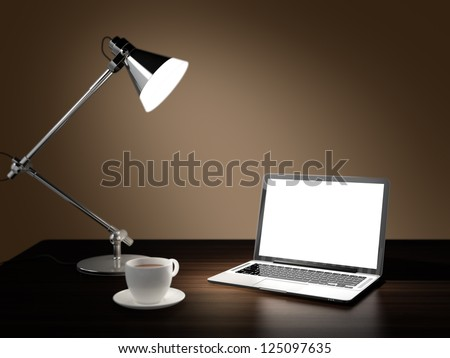Computer generated image of laptop, desk lamp, and cup of coffee in dark room on wooden table
