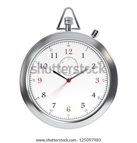 Computer generated image of metal clock isolated on white background