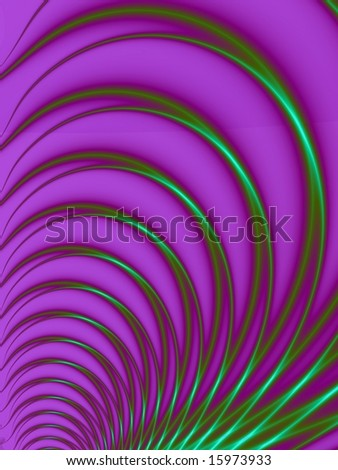 Computer generated image with a feather design in green and purple.