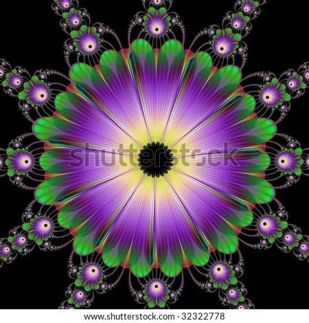 Computer generated image with a floral roundel design in purple and green on a black background.