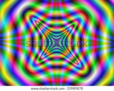 Computer generated image with a radiating abstract design in yellow green red and blue.