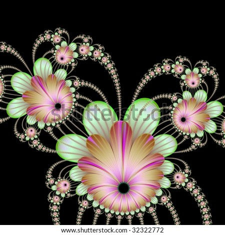 Computer generated image with a string of flowers design in pink and green on a black background.