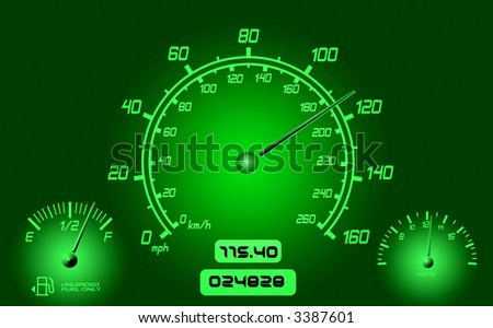 Computer generated  instrument panel with dials needles and gauges.