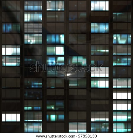 computer generated lit windows in a tall office skyscraper. tiles seamlessly for infinitely high building