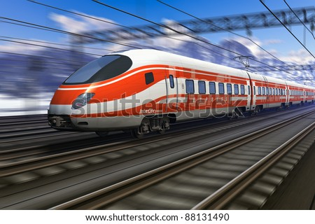 Computer generated red modern high speed train passing snowy mountain railroad station with motion blur effect